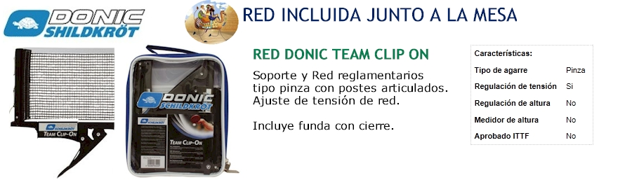 PROMO: Red DONIC Team Clip ON, Incluido junto a la mesa